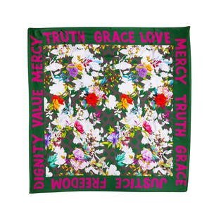 Floral Scarf Green